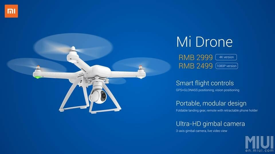 Xiaomi(シャオミ)が、4Kでの低価格ドローン「Mi Drone」発表!日本での発売は?